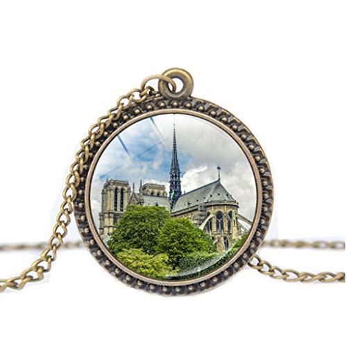UINGKID Kette Damen Halskette Schmuck Anhänger Ausverkauf Rose Window Glasmalerei de Paris Kathedrale Anhänger Halskette Mode