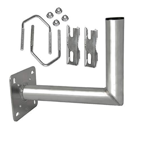 PremiumX Balkon-Ausleger Aluminium Geländer Balkon-Halterung für Satelliten-Schüssel SAT-Antenne Wand-Halter mit Schellen Mast-Auslage 25 cm