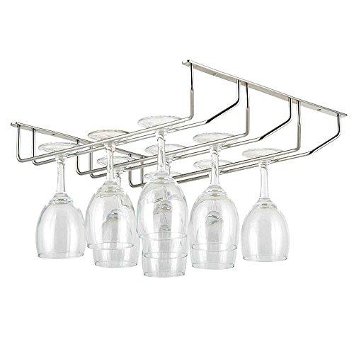 E Support 2er-Set Gläserhalter Gläserschiene edelstahl Glas Wein Champagner Cup Hangers Rack Halter mit Schrauben für Bar, Zuhause, Cafe -