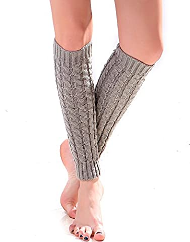 HDE Women's Leg Warmers Crochet Knit Winter Boot Cuff Knee High Socks (Grey)