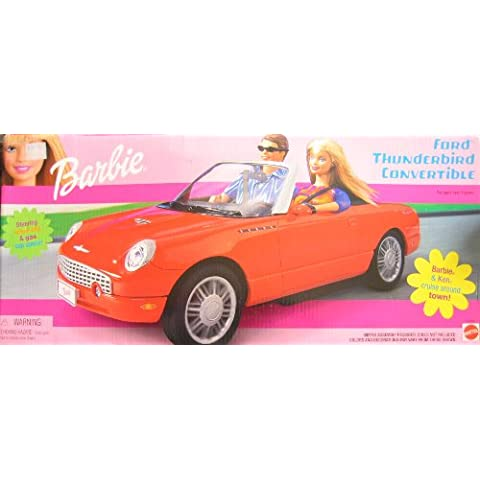 Barbie Ford Thunderbird Convertible Vehicle with Tilt Steering Wheel & Gas Cap Opens! (2002) by Mattel