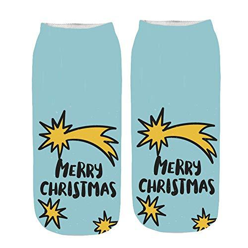 Huhu83 Weihnachten Socken, Damen 3D Drucken Socken Cartoon Funny Cute Erstaunliche Neuheit Drucken Söckchen Kurze Socken (H) - Neuheit Drucken Kurze