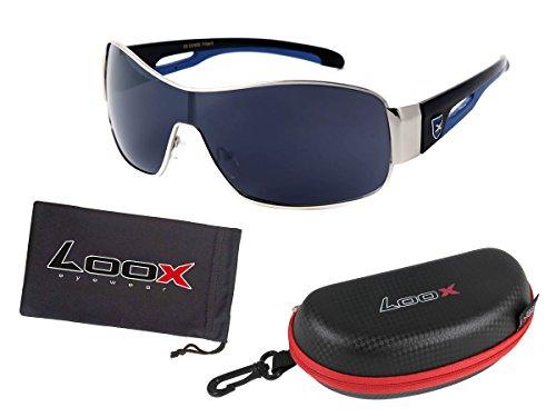Alsino LOOX Sonnenbrille Vintage große Gläser Polycarbonat Herren Damen Retro Fliegerbrille Modell Panama 106, Variante wählen:LOOX-106 schwarz silber