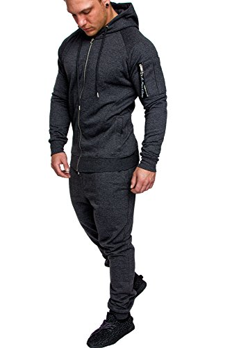 Amaci&Sons Herren Cargo Stil Sportanzug Jogginganzug Trainingsanzug Sporthose+Pullover 1014 Dunkelgrau M