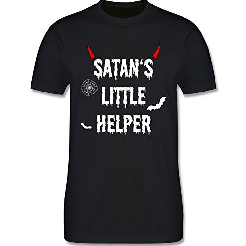hsene - Satan's Little Helper - Halloween - Teufel - Hörner - Fledermaus - XXL - Schwarz - L190 - - Premium Männer Herren T-Shirt mit Rundhalsausschnitt (Halloween-t-shirts Für Erwachsene)