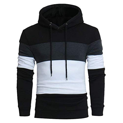 Herren Mens Boyfriend Freund Autumn Winter Drawstring Sleeve Hooded Long Mit Chic Kapuze Sweater Pullover Casual Smooth (Color : Schwarz, Size : L) -