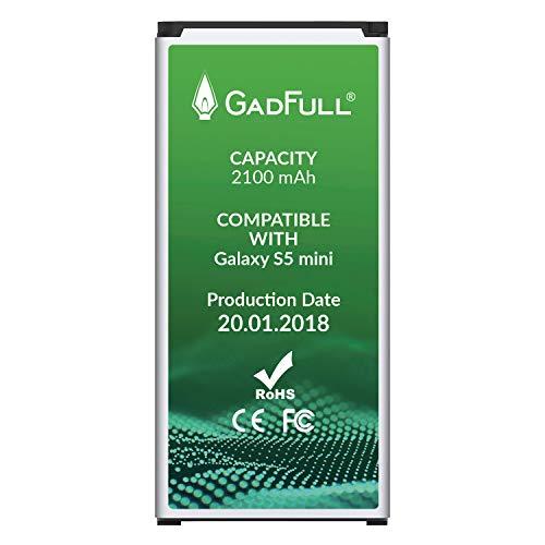 GadFull Akku für Samsung Galaxy S5 Mini | 2018 Baujahr | Wie EB-BG800BBE | Lithium-Ionen-Akku der Modelle SM-G800F | Duos SM-800H | Ersatz Handy-Akku für Ihr Smartphone