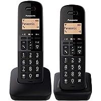 Panasonic KX-TGB612 - Teléfono Fijo inalámbrico dúo, Bloqueo de Llamadas, 18 Horas de conversación, 200 Horas en Espera, Agenda 50 contactos, Resistencia a caídas, Color Negro