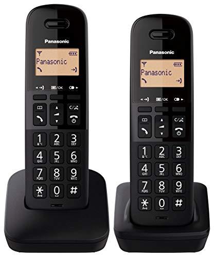 Oferta de Panasonic KX-TGB612 - Teléfono Fijo inalámbrico dúo, Bloqueo de Llamadas, 18 Horas de conversación, 200 Horas en Espera, Agenda 50 contactos, Resistencia a caídas, Color Negro