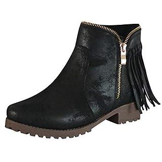 Xuthuly Damenmode Vintage Quaste Reißverschluss Stiefeletten Klassische Freizeit Einfarbig Low-Heel Roman Single Schuhe
