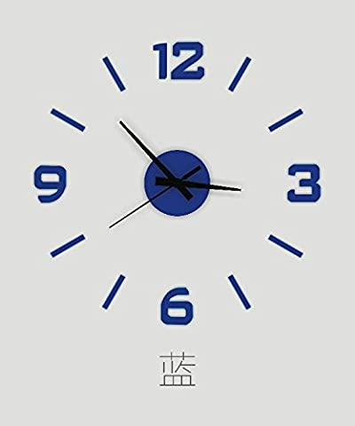 HUANGYAHUI Horloge murale Acrylique 16 Pouces Bricolage Stéréo Numérique Réveil Réveil Chambre Peut Déposer Les Stickers Décoratif Mural Watch,16 Pouces,Bleu Saphir