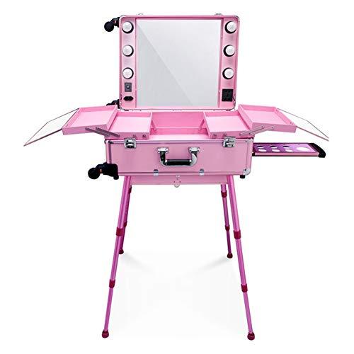 LED Makeup Zug Fall, beleuchtete rollende Reise tragbare kosmetische Organizer Box mit verstellbaren Bein und 4 abnehmbare Räder, professionelle Künstler Trolley (Color : Pink warm light) - Upright Trolley Case