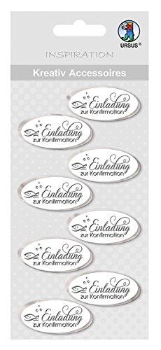Ursus 564000321 - Kreativ Accessoires, Einladung Zur Konfirmation, 8 Stück, silber