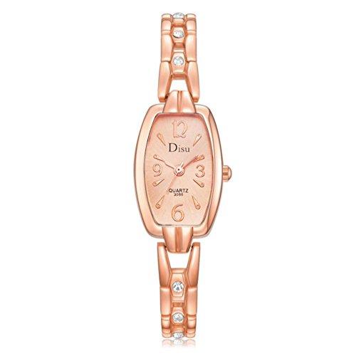 Valentinstag Uhren DELLIN Rose Gold überzogene Frauen elegante Strass Armband Quarzuhr Mode Damen Kleid Uhren (A golden)