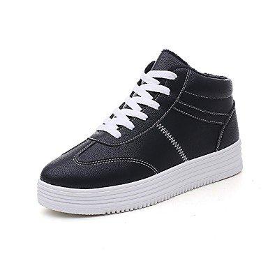 Rtry Zapatos De Mujer De Cuero Sintético Otoño Invierno Forro De Pelusa Botas Botas De Punta Redonda Para Ropa Casual Blanco Negro Us5.5 / Eu36 / Uk3.5 / Cn35