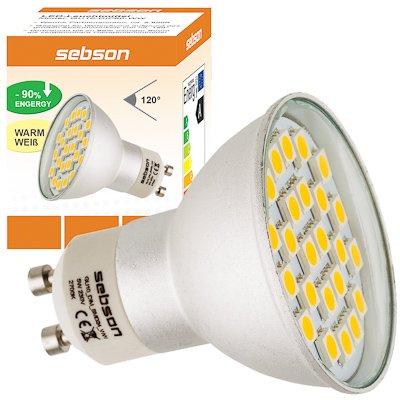 SEBSON® Dimmbar GU10 LED Lampe 4,5W 430lm (Ersetzt 40W) [Warm-Weiß - SMD LED Leuchtmittel - 120° Abstrahlwinkel] von sebson bei Lampenhans.de