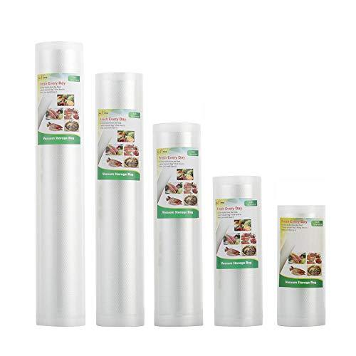 Pack di 5 rotoli per dispositivo di sottovuoto sacchetti sottovuoto alimentare per dispositivo di sottovuoto sacchetti sottovuoto per archiviazione alimentare ((12+15+20+25+28)x500cm)