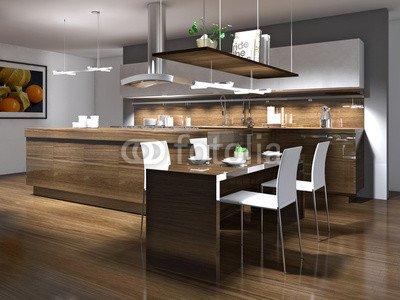 """Alu-Dibond-Bild 130 x 100 cm: \""""Moderne Einbauküche mit Holzelementen\"""", Bild auf Alu-Dibond"""