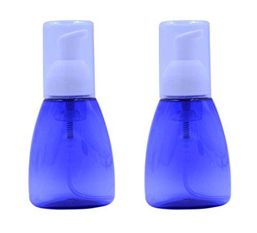 2PCS 80ML/2,7 unze Blau Leere Durchsichtigen Schaumstoffschäumer Dispenser Pumpe Flaschen Kosmetik Lotion Makeup Shampoo Gesichtsreiniger Flüssigseifenschale Schäumen Halter Container Jar Töpfe