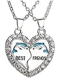 GirlZ! Stainless Steel Dolphin Best Friend Heart Couple Matching Pendant Necklace With Chains For Men & Women