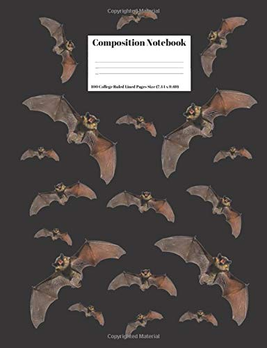 Composition Notebook: Vampire Bats Design Cover 100 College Ruled Lined Pages Size (7.44 x 9.69) (Halloween X Project)
