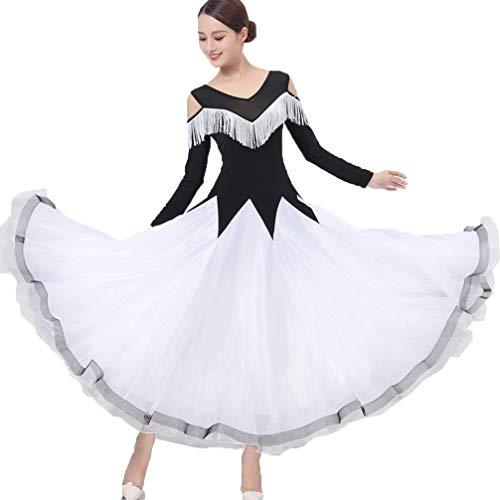 (Nationaler Standard Ballsaal Tanzn Kostüm Für Frauen Performance Quaste V-Ausschnitt Tüll Modern Walzer Tanz-Outfit Große Schaukel Zumba Tango Rock, XXL)