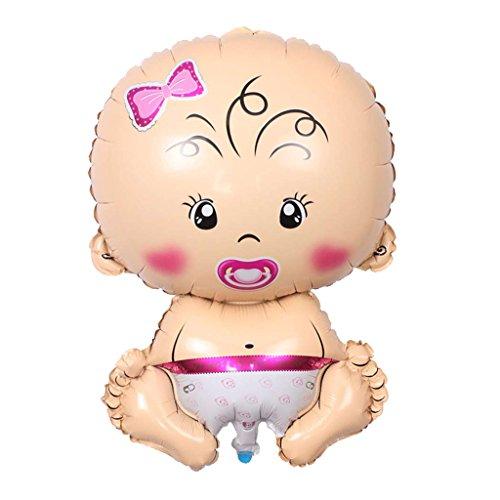SunniMix Precioso Bebé En Forma De Dibujos Animados Niño Chica Helio Foil Globos Decoración De La Ducha De Bebé - Rosa