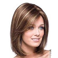 شعر مستعار اصطناعي متوسط الطول قصة مستقيمة بطول الكتف لون ذهبي للنساء