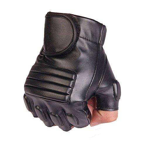 MFH Protect Taktische Fingerlose Handschuhe Leder Griff Fäustlinge OD Grün