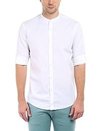 Dennis Lingo Men's Cotton Casual Full Sleeves Slim fit White Shirt