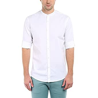 Dennis Lingo Men's Plain Slim Fit Casual Shirt (C201_White_Small)