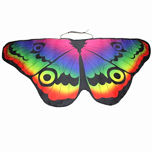 Schmetterling Kostüm, Dasongff Kind Kinder Jungen Mädchen Böhmischen Schmetterling Print Schal Karneval Kostüm Faschingskostüme Cosplay Kostüm Zusatz (118*48CM, Multicolor -H) (Multi Shirt Color Mädchen)