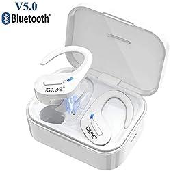 Écouteurs Bluetooth 5.0 Oreillette Bluetooth Sport sans Fil 1000mAh Boîte de Charge Hi-FI Stéréo IPX5 Etanche Étui de Charge Micro Intégré Écouteur sans Fil pour Samsung Huawei Tablette