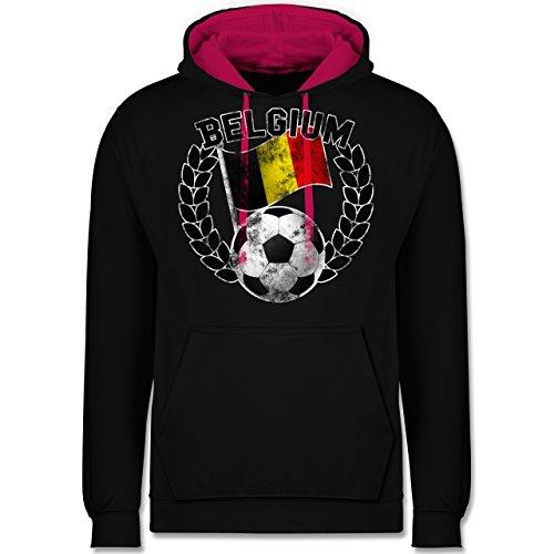 Fußball-WM 2018 - Russland - Belgium Flagge & Fußball Vintage - Kontrast Hoodie Schwarz/Fuchsia