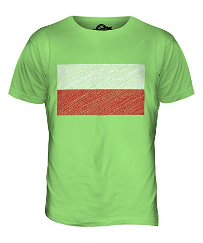 CandyMix Polen Kritzelte Flagge Herren T Shirt Limettengrün