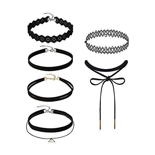 Ndier 1set (6pcs) Collar del Estilo del Tatuaje Moda Terciopelo Cuello Gargantilla Sistema Exquisito del gótico Negro Gargantilla para Mujeres y niñas