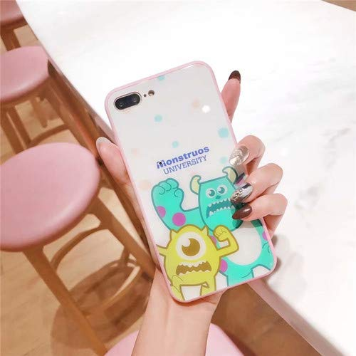 JINQD Home Iphone8plus Pulver Seite Cartoon Katze seltsame Handy Shell Glas Shell Apple 6S / 8plus große Augen All Inclusive 8X (Color : 2-iphone7/8)