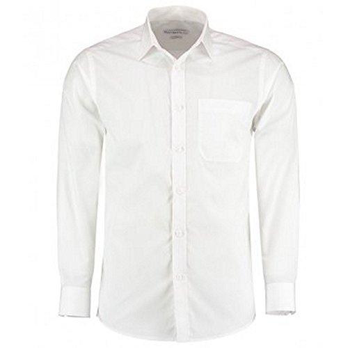 KUSTOM KIT Herren Langarm Tailored Poplin Hemd (16.5 (42 cm)) (Weiß) -