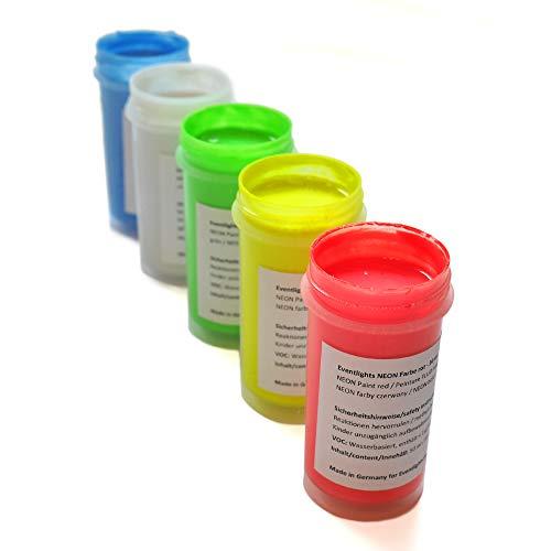 farben die im dunkeln leuchten Eventlights Neonfarben für Wände, Kunst, Basteln - 250ml Fluoreszierende Schwarzlicht Farben - UV Leuchtfarben mit GLOW-Effekt (5 x 50 ml, Farbmix)