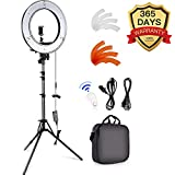 Caméra Photo Vidéo Eclairage Kit:48 Centimètres Extérieur 55W 5500K Réglable LED Lumière Anneau, Trépied d'Eclairage, Récepteur Bluetooth pour Smartphone, Youtube, Vine Self-portrait Vidéo Tournage