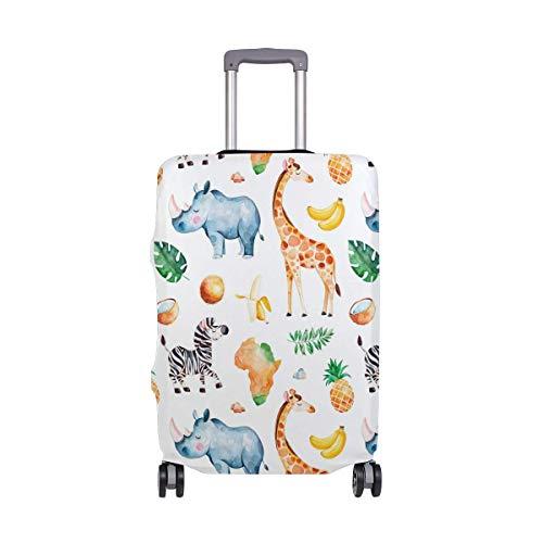 Luggage Cover Giraffe Rhino Zebra Pineapple Elements Suitcase Protector Baggage Fits 19-39 Inch,Size:L Zebra Design Cover Case
