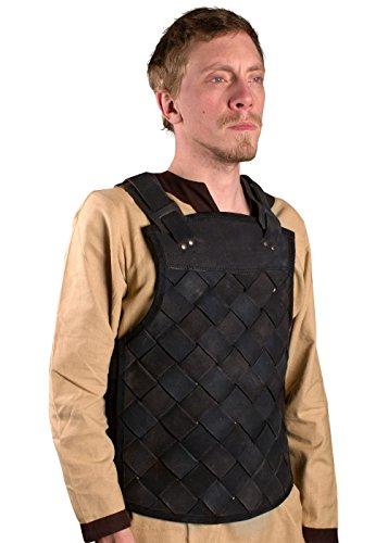 Ready For Battle LARP Männer Lederrüstung Viking Schwarz oder Braun Größe S-XL Mittelalter Schaukampf Wikinger (Schwarz, (Epic Einfache Kostüme)