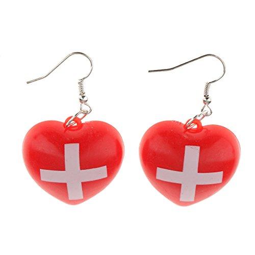 Hellery Erstaunliche Frauen Krankenschwester Kreuz Rote Ohrringe Kostüm Cosplay Schmuck