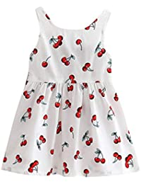 Vestido de Tirantes Niñas Verano K-Youth® Niños Ropa de Niña a la Moda 2019 Estampado de Cereza Sin Mangas Vestidos de Princesa Niñas Fiesta Ropa Bebe Niña