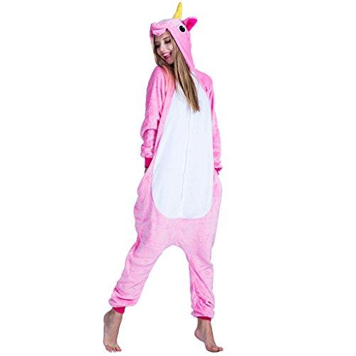 EraSpooky Unisexe Adulte Flanelle Animal Pyjamas Licorne rose Cosplay Kigurumi