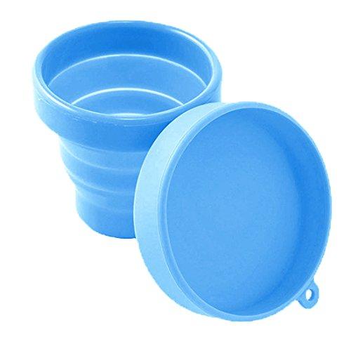 Menstruationstasse Aufbewahrung, Tragbare Silikon Tasse für Menstruationstasse, Faltbare Aufbewahrungsbecher aus Medizinischem Silikon, 170ml, -40°C - 220°C (Blau)