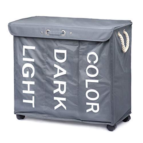Minuma® Wäschekorb Wäschesortierer mit Rollen und Tragegriffen 96 Liter Fassungsvermögen   3 Fächer zum bequemen vorsortieren Heller, dunkler und Farbiger Wäsche   63 x 56 x 33 cm in dunkelgrau