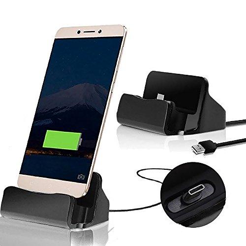 TUTUO 3 in 1 USB C Stazione di Ricarica & USB 3.0 Trasmissione Dati Multifunzionale Alta Compatibilità per Samsung S9 S8, LG V30, Oneplus 6 e Altri (Nero)