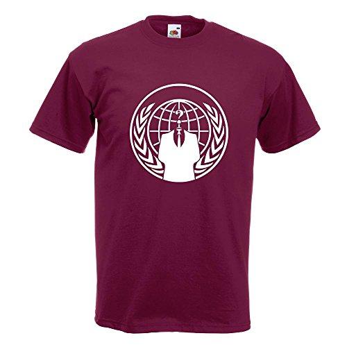 Kiwistar Anonymous - Wappen - Anzug T-Shirt in 15 Verschiedenen Farben - Herren Funshirt Bedruckt Design Sprüche Spruch Motive Oberteil Baumwolle Print Größe S M L XL XXL Burgund