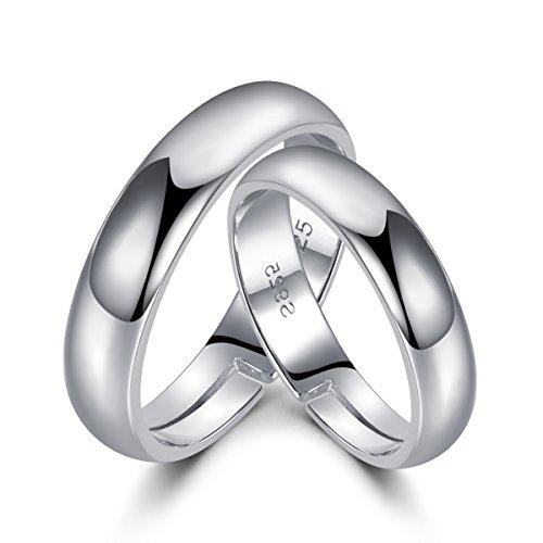 Anillos de plata de ley 925 de LYTOPTOP, anillos de promesa para pareja, abiertos y ajustables, regalo de San Valentín para los amantes